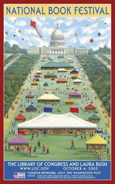 2003 USA National Book Festival poster © Joey P. Mánlapaz (Artist. Phillipines - USA). Artist site: http://www.artlineplus.com/artists/manlapaz/manlapaz.html A fairly accurate depiction of the National Book Festival except... add huge crowds, hours long lines & sauna-like heat & humidity. Still, it's worth it to meet & greet your favorite authors & illustrators. They pull in the big names here. -pfb ... Washington, DC. USA.