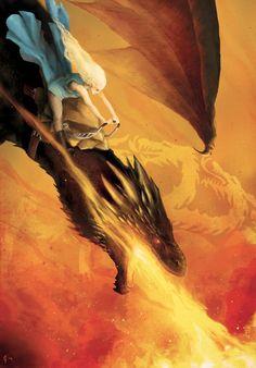 Daenerys rides Drogon