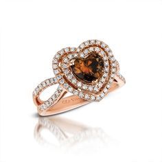 A piece after our Chocolate Diamond heart. Le Vian Chocolate Diamonds and Vanilla Diamonds set in Strawberry Gold. Heart Jewelry, Diamond Jewelry, Jewelry Rings, Jewelery, Fine Jewelry, Diamond Rings, Heart Shaped Engagement Rings, Heart Shaped Chocolate, Or Antique