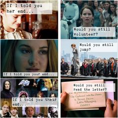 the hunger games + divergent + Harry Potter + If I told you