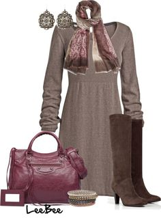 A fashion look from November 2012 featuring bell sleeve dress, knee-high boots and vintage handbags. Browse and shop related looks. Chic Outfits, Fashion Outfits, Womens Fashion, Skirt Outfits, Fashion Tips, Autumn Winter Fashion, Winter Wear, Fall Fashion, Fall Winter