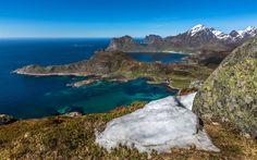 Download wallpapers Lofoten Islands, coast, sea, rocks, mountains, seascape, Offersoykammen mountain peak, Norway