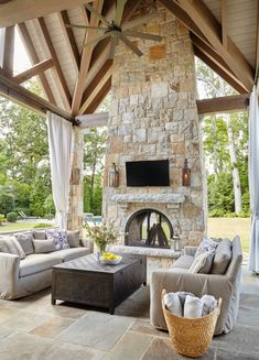 Exhilarating Backyard Fireplace Ideas to Warm Your Outdoor Area - Modern Outdoor Decor, Outdoor Living Space Design, Outdoor Space, Fireplace Design, Outdoor Fireplace Designs, Adirondack Furniture, Fireplace