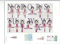 Alphabet with dancers 123 Cross Stitch, Cross Stitch Letters, Cross Stitch For Kids, Cross Stitch Designs, Stitch Patterns, Crochet Patterns, Embroidery Alphabet, Embroidery Art, Cross Stitch Embroidery