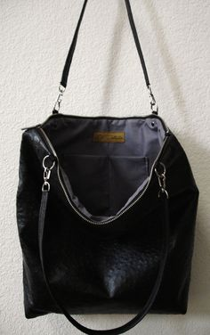 Large Black Ostrich Embossed Cowhide Leather Tote by DalleMieMani 8bab1b85aec9d
