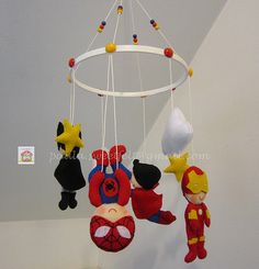 ♥ ♥ ♥ Mobile superheroes ... Because boys love!  by sweetfelt \ ideas in felt