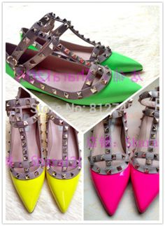 2014 Valentin Fashion SHINY GREEN /pink /yellow rivet flat lacing genuine leather women's shoes one strap shoes