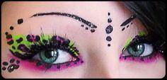 Pink green animal print eye makeup