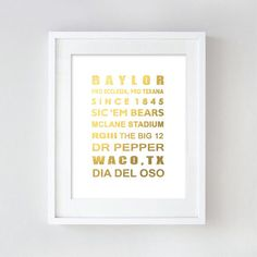 Baylor University gold foil print art
