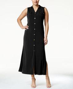 Michael Michael Kors Plus Size Sleeveless Maxi Shirtdress
