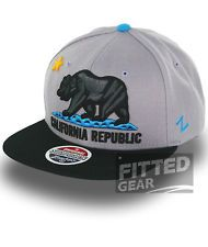 Cali CA Zephyr CALIFORNIA REPUBLIC 6 Two Tone Grey Black Snapback Hats Caps