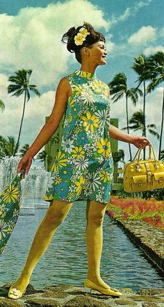 1960s Style in the Aisle - I love all the yellow accessories with a colorful floral print dress