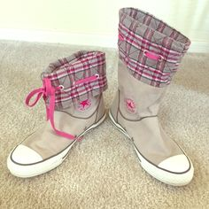 """Converse All Star Plaid Canvas Sneaker Boots These boots can be worn in two ways, as shown in the picture. They have pink laces to go with the cute pink and grey print. The shaft is 11"""" when they are not rolled down. There is a small snag(in 3rd picture), some scuffs and some stains(in the last picture) from being in the closet and a little wear. Converse Shoes Sneakers"""