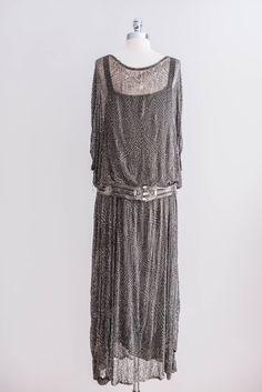 1920s Gray Silk Beaded Dress