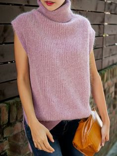 Purple Rolled Neck Knit Vest with Asymmetric Hem