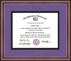 Diploma Frame Laminated Visuals National University Mahogany Gold Trim Embossed Seal