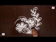 Creative & Simple flowers Kolam / rangoli Design without using Dots Simple Rangoli Designs Images, Rangoli Designs Flower, Rangoli Border Designs, Beautiful Rangoli Designs, Flower Designs, Rangoli Borders, Kolam Rangoli, Indian Rangoli, Free Hand Rangoli Design