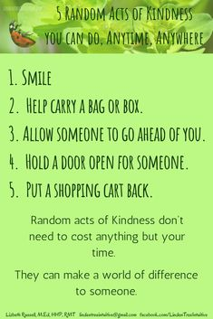 5 Random Acts of Kindness you can do anytime, anywhere. Random Acts, Simple Way, 5 Ways, You Can Do, Something To Do, Hold On, Acting, Learning, Naruto Sad