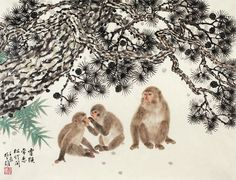 Fang Chuxiong, Monkeys, Pine and Bamboo, c. 1990