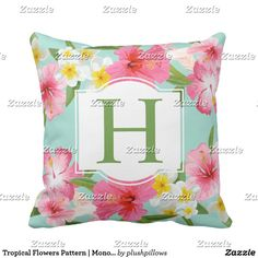 Tropical Flowers Pattern   Monogram