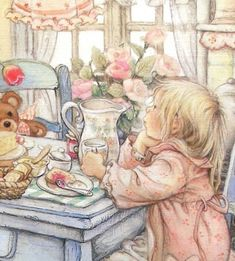 Illustration/Painting by Lisi Martin Vintage Pictures, Cute Pictures, Images Victoriennes, Spanish Artists, Holly Hobbie, Children's Book Illustration, Vintage Children, Belle Photo, Clipart