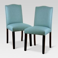 Camelot Nailhead Dining Chair - Light Blue (Set Of - Threshold™ : Target Dining Room Walls, Dining Chairs, Dining Table, Living Room, Room Feng Shui, Dining Lighting, Small Dining, Curtains With Blinds, Trendy Colors