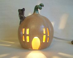Pumpkin Fairy House - Night Light --  Garden Decor --  Larger Size  --  Handmade, Wheel Thrown --  Ready to Ship