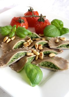 Vegan GF Spinach-Chestnut Ravioli, with Canellini Beans, Pine Nuts & Basil.