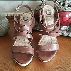 "G by Guess Espadrille Wedges Classic strappy espadrille faux leather wedge with gold buckle. 4 1/2"" heel. Comfy. EUC. Great sandal for the upcoming seasons!! G by Guess Shoes Wedges"