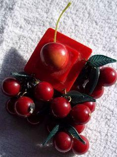 Vintage Cherry Bakelite Brooch http://www.ebay.com/itm/Vintage-Cherry-Bakelite-Brooch-/281010246262?pt=Vintage_Costume_Jewelry=item416d841276