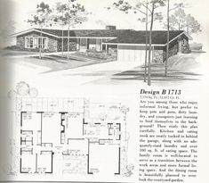 Vintage House Plans, mid century homes, homes over 2000 sq feet House Plans One Story, One Story Homes, Best House Plans, Country House Plans, Story House, Modern House Plans, Small House Plans, House Floor Plans, Modern Houses