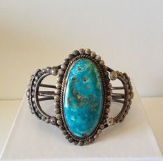 Vintage Sterling Silver Turquoise Cuff Bracelet                                                                                                                                                                                 More