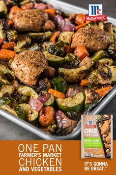 There's nothing easier than a sheet pan dinner! Make this easy chicken recipe with a variety of your favorite vegetables, and season with one package of McCormick Farmer's Market Chicken and Vegetables for flavor in every bite. Healthy Chicken Recipes, Crockpot Recipes, Diet Recipes, Cooking Recipes, Zucchini Pasta Recipes, Pan Cooking, Recipies, Zucchini Zoodles, Healthy Eating Recipes