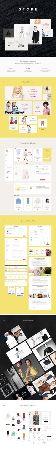 Store UI Kit is a large set of clean and modern UI components for your e-commerce project.The kit has 3 variations:1) Kiddy – charming ui components for cutest clothing and toys.2) Stylo – clean and stylish ui elements for your fashion products.…