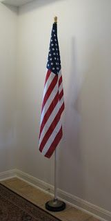 thrifty flag stand from old floor lamp