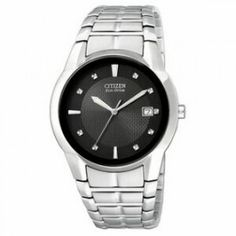 Citizen Mens' Eco-Drive Stainless Steel Watch w/ Black Round Dial