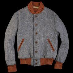 Golden Bear Varsity Jacket in Blue Donnegal Harris Tweed