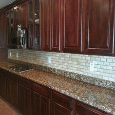 Travertine Kitchen Backsplash Kitchen Backsplash, Kitchen Cabinets, Tile Installation, Carpet Tiles, Travertine, Hardwood, House, Home Decor, Natural Wood