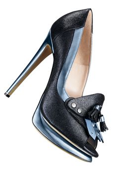 NICHOLAS KIRKWOOD-Midnight sparkle suede and silver blue specchio leather open-toe kiltie platform pump