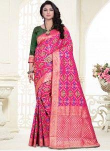 Banarasi Silk Designer Saree in Rose Pink