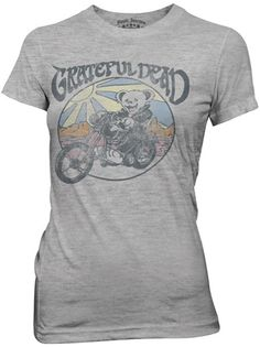 ed82c365b This officially licensed Ladies Grateful Dead shirt features a Grateful Dead  bear on a bike.