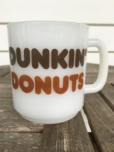 vintage Dunkin' Donuts mug, white milk glass, Glasbake, 1970s by MotherMuse on Etsy