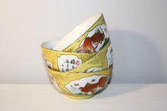 Set of Chinese Rice Bowls, Zhongguo Zhi Zao Porcelain Goldfish Bowl