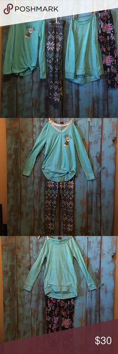 2 outfits / 4 pieces / little girls size 8 / Excellent condition! 2 cute outfits from Justice. 2 pairs of leggings and 2 long sleeve tops. Can easily be mix and matched!                                     --------------------------------------------------------------------No rips, stains or tears. Smoke free, pet free home. No trades! Justice Matching Sets