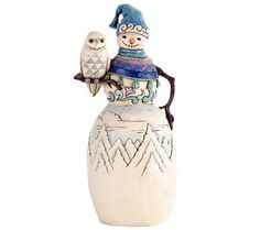 Jim Shore Heartwood Creek Snowman w/ Winter OwlFigurine — QVC.com