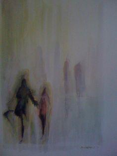 Holding Mum's Hand in the Rain Watercolour