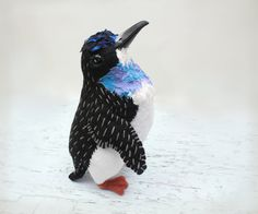 Tasmanian Penguin  Felt & Fabric Soft Sculpture  by Suzanne Moulton