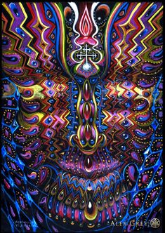 "Alex Grey is known for his paintings of glowing anatomical human bodies, that ""x-ray"" multiple layers of reality; an integration of body, mind, and spirit."