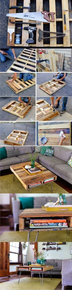Coffee Table Made From Pallets  -   #pallets  #palletproject  #palletprojects  #furniture