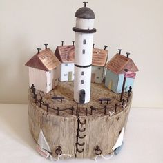 Around the lighthouse! Around the lighthouse! Driftwood Projects, Driftwood Art, Diy Projects, Driftwood Sculpture, Beach Crafts, Home Crafts, Diy And Crafts, Diy Holz, Wood Creations